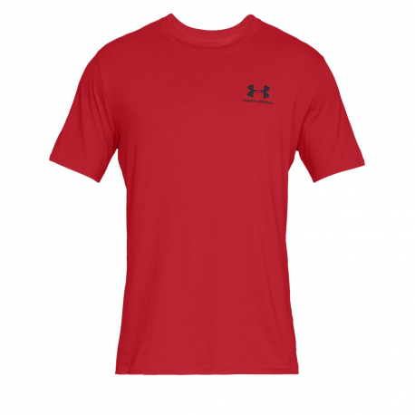 Pánske tréningové tričko s krátkym rukávom UNDER ARMOUR-SPORTSTYLE LEFT CHEST SS-RED