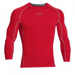 Pánske tréningové tričko s dlhým rukávom UNDER ARMOUR-UA HG ARMOUR LS-RED