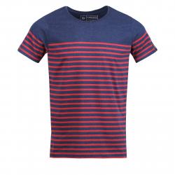 Pánske tričko s krátkym rukávom FUNDANGO-Jaggy Stripe-spanish red
