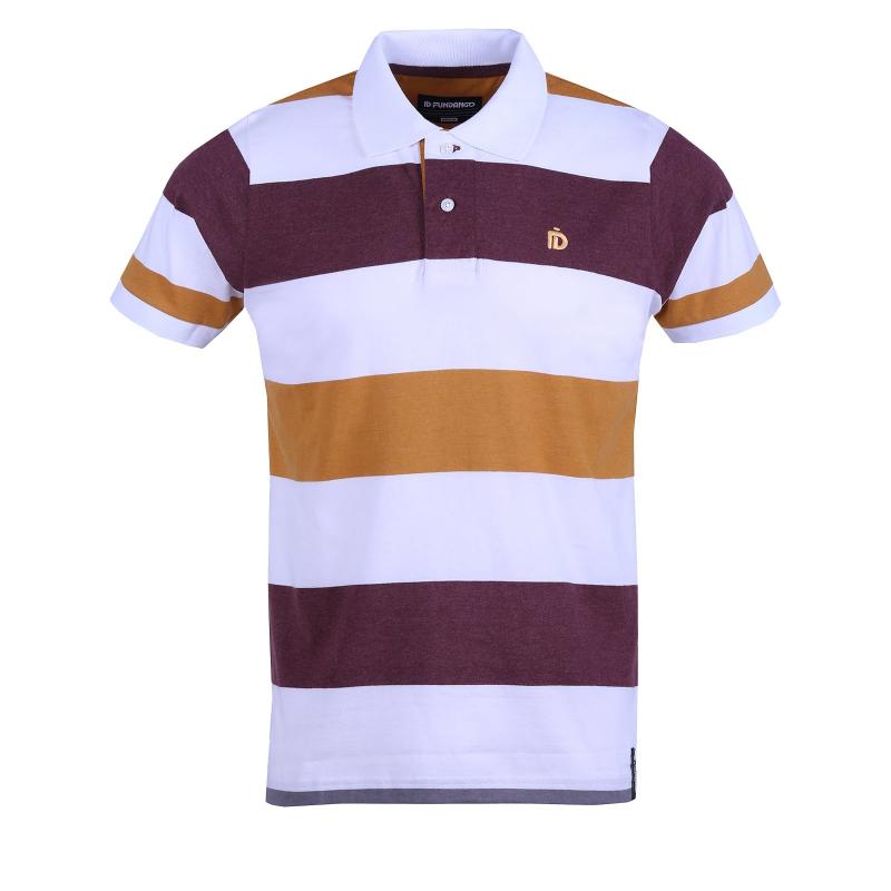 Pánske polo tričko s krátkym rukávom FUNDANGO-Incognito stripe-mustard -