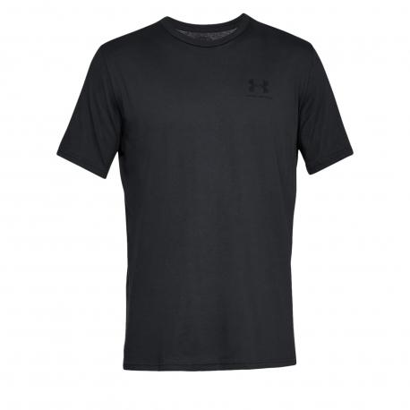 Pánske tréningové tričko s krátkym rukávom UNDER ARMOUR-SPORTSTYLE LEFT CHEST SS-BLK