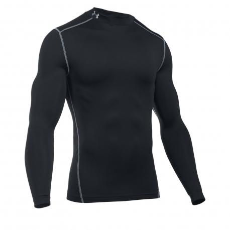 Pánske kompresné tričko s dlhým rukávom UNDER ARMOUR-UA CG ARMOUR MOCK-BLK