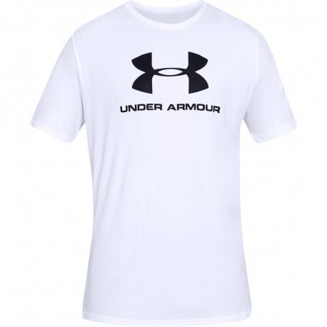 Pánske tréningové tričko s krátkym rukávom UNDER ARMOUR-SPORTSTYLE LOGO SS-WHT