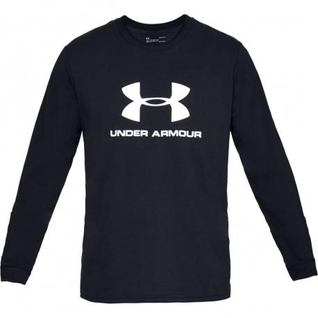 Pánske tréningové tričko s dlhým rukávom UNDER ARMOUR-SPORTSTYLE LOGO LS-BLK