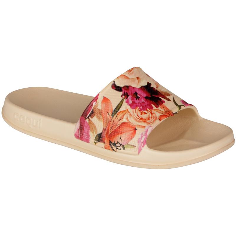 Dámska obuv k bazénu COQUI-Tora printed beige roses -