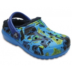Detské kroksy zateplené (rekreačná obuv) CROCS-Classic Lined Graphic Clog K Ocn/Navy