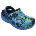 Detské kroksy zateplené (rekreačná obuv) CROCS-Classic Lined Graphic Clog K Ocn/Navy - Detské obuv značky Crocs s vnútorným polstrovaním z umelej kožušinky.