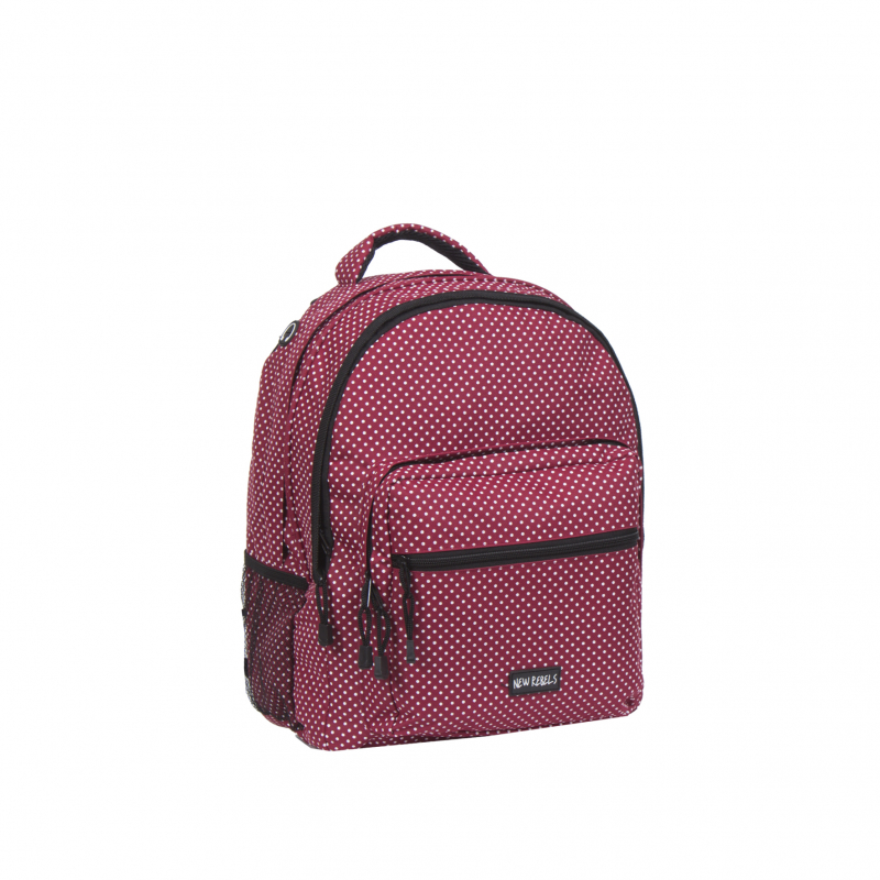 Školský ruksak NEW REBELS-school backpack burgundy/white -