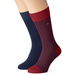 Pánske ponožky TOMMY HILFIGER-Tommy Hilfiger Socks Small Stripe Red/Blue 2-Pack Men