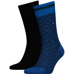 Pánske ponožky TOMMY HILFIGER-Tommy Hilfiger Socks Basket Knit Blue 2-Pack Men