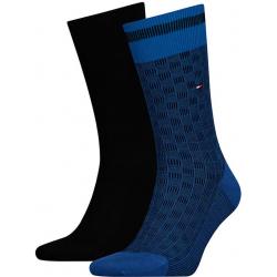 Pánske ponožky TOMMY HILFIGER-Tommy Hilfiger Socks Basket Knit Blue 2-Pack