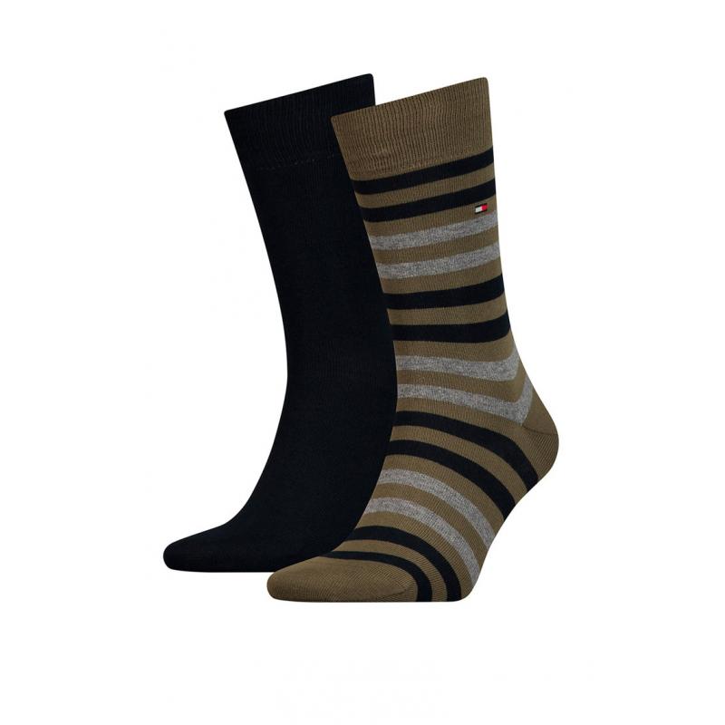 Pánske ponožky TOMMY HILFIGER-Tommy Hilfiger Socks Duo Stripe Black/Green 2-Pack Men -