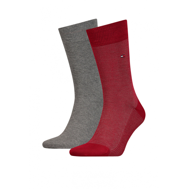Pánske ponožky TOMMY HILFIGER-Tommy Hilfiger Socks BirdEye Red/Black 2-Pack Men -