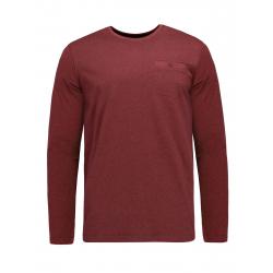 Pánske tričko s dlhým rukávom VOLCANO-L-CHESTER-400M-RED MEL