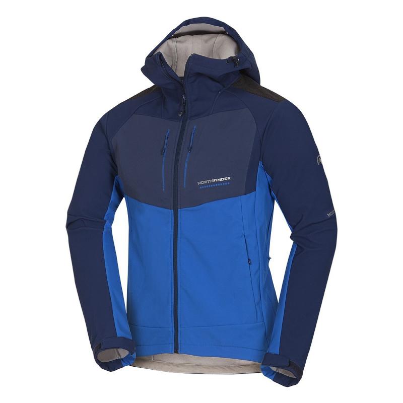 Pánska turistická softshellová bunda NORTHFINDER-ABYDON-darkblue&blue -