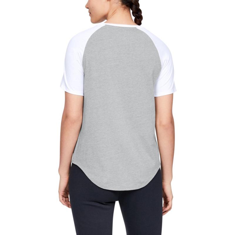Dámske tréningové tričko s krátkym rukávom UNDER ARMOUR-FIT KIT BASEBALL TEE GRAPHIC-GRY -