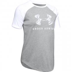Dámske tréningové tričko s krátkym rukávom UNDER ARMOUR-FIT KIT BASEBALL TEE GRAPHIC-GRY
