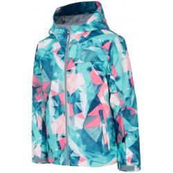Dívčí lyžařská bunda 4F-GIRLS-SKI Jackets-HJZ19-JKUDN001-47A-MINT ALLOVER