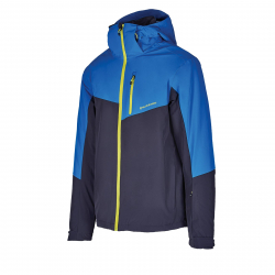 Pánska lyžiarska bunda BLIZZARD-Mens Ski Jacket Cervinia, grey/bright blue/neon green zipper