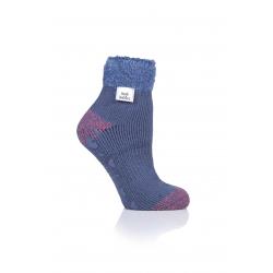 Dámske ponožky HEAT HOLDERS-LADIES LOUNGE SOCKS - FEATHER TOP-CONTRAST H&T - MUTED BLUE