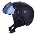 Lyžařská helma se štítem BLIZZARD-Double Visor ski helmet, black matt, big logo, smok -