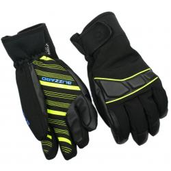 Lyžiarske rukavice BLIZZARD-Profi ski gloves, black/neon yellow/blue