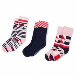 Detské ponožky TOMMY HILFIGER-Kids Pen Giftbox 3p Pink Combo