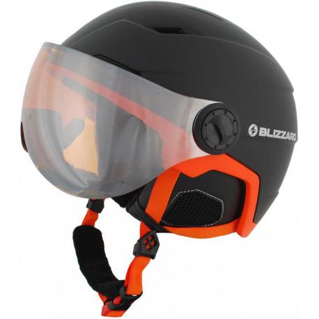 Lyžiarska prilba so štítom BLIZZARD-Double Visor ski helmet, black matt/neon orange, big logo, o