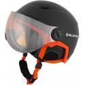 Lyžiarska prilba so štítom BLIZZARD-Double Visor ski helmet, black matt/neon orange, big logo, o -