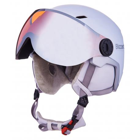 Dámska lyžiarska prilba so štítom BLIZZARD-Viva Double Visor ski helmet, white matt/silver, orange lens
