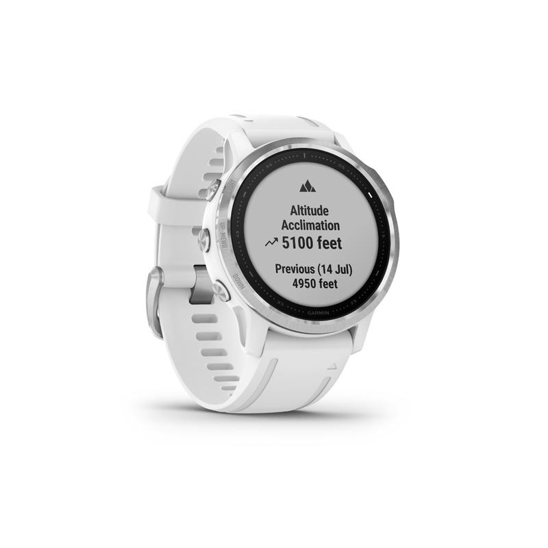 Monitor aktivity GARMIN-Fénix 6S, Silver, White band -