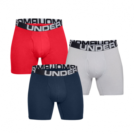 Pánske boxerky UNDER ARMOUR-Charged Cotton 6in 3 Pack-RED