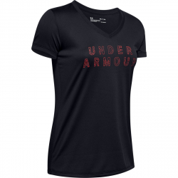 Dámske tréningové tričko s krátkym rukávom UNDER ARMOUR-Tech SSV - Graphic-BLK