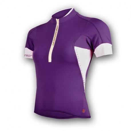Dámský cyklistický dres s krátkým rukávem SENSOR-Dres Profi Coolmax dám.kr.rukáv fialová / bílá 11
