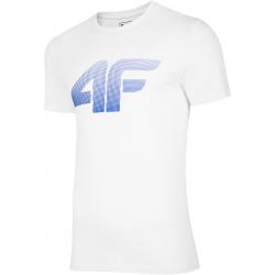 Pánské tréninkové triko s krátkým rukávem 4F-MEN-S T-SHIRT WHITE-NOSH4-TSM004-10S