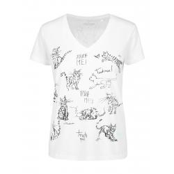 Dámske tričko s krátkym rukávom V-golier VOLCANO-T-MEOW-WHITE