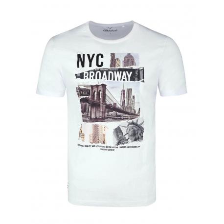Pánske tričko s krátkym rukávom VOLCANO-T-NYC-WHITE