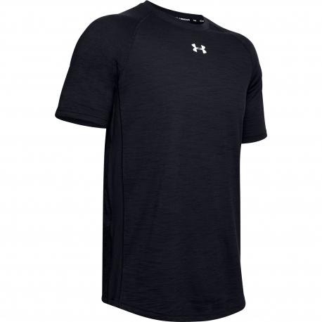 Pánske tréningové tričko s krátkym rukávom UNDER ARMOUR-Charged Cotton SS-BLK