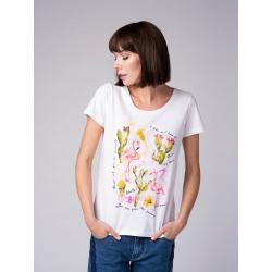 Dámske tričko s krátkym rukávom VOLCANO-T-FLAMINGOS-WHITE