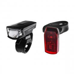 Cyklistické svetlo LONGUS-Svetlá set SINGLE 1+1LED 2f/2f USB/bat čierne