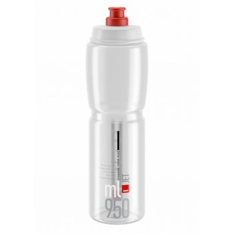 Cyklistická fľaša ELITE-Fľaša JET transparentná červené logo 950 ml