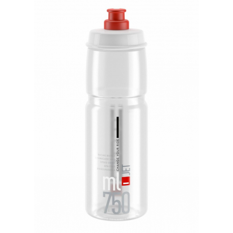 Cyklistická fľaša ELITE-Fľaša JET transparentná červené logo 750 ml
