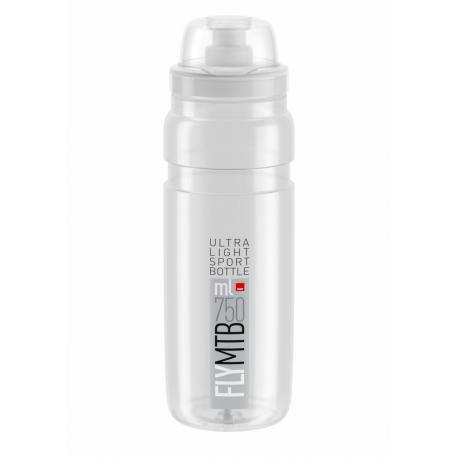 Cyklistická fľaša ELITE-Fľaša FLY MTB transparentná šedé logo 750 ml