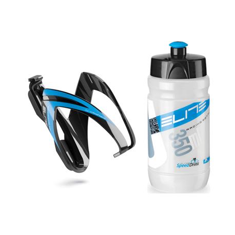 Cyklistická fľaša ELITE-Fľaša s košíkom set CEO modrý