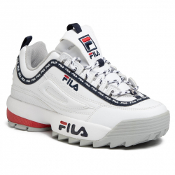 Dámská rekreační obuv FILA-disruptory Logo Low white / fila navy / fila red