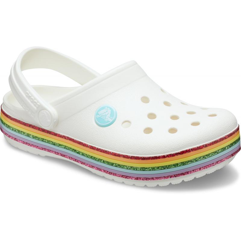 Detské kroksy (rekreačná obuv) CROCS-Crocband Rainbow Glitter Clg K white -