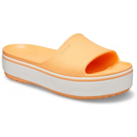 Obuv k bazénu (plážová obuv) CROCS-Crocband Platform Slide cantaloupe/white (EX)