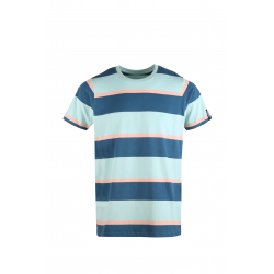 Pánske tričko s krátkym rukávom FUNDANGO-Jaggy Stripe-501-ghost green
