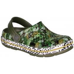 Detské kroksy (rekreačná obuv) COQUI-Lindo army green/camo