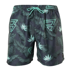 Pánské plavky Brunotti-Tasker-Flower Mens Shorts-0634 Carribean green